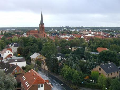 Blick über die Altstadt von Buxtehude aus der Drehleiter, aufgenommen vom Hof des Gerätehauses Zug1